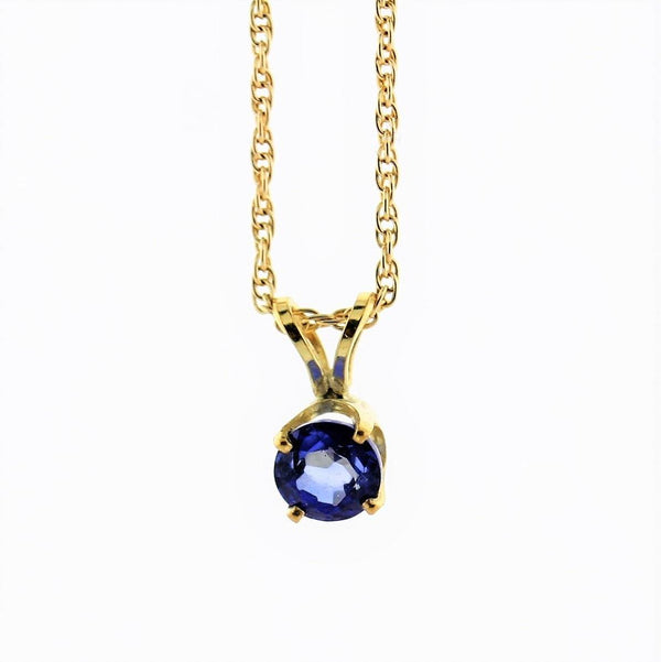 5 mm Round Sapphire Solitaire Pendant Necklace 14k Yellow Gold September Birthstone - Thenetjeweler by Importex