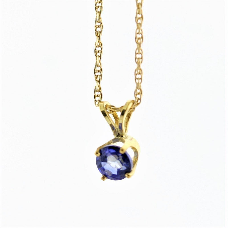 5 mm Round Sapphire Solitaire Pendant Necklace 14k Yellow Gold September Birthstone - Thenetjeweler