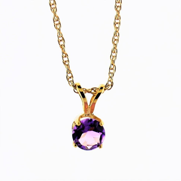 5 mm Round Amethyst Solitaire Pendant Necklace 14k Yellow Gold February Birthstone - Thenetjeweler