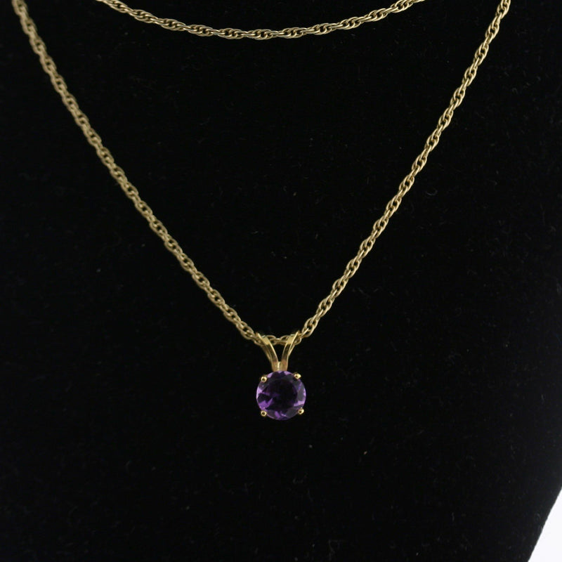 5 mm Round Amethyst Solitaire Pendant Necklace 14k Yellow Gold February Birthstone - Thenetjeweler by Importex