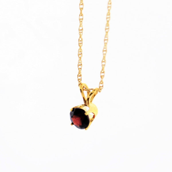 5 mm Round Garnet Solitaire Pendant Necklace 14k Yellow Gold January Birthstone - Thenetjeweler