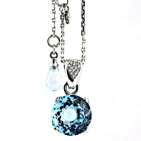 Blue Topaz Diamond Heart Necklace - Thenetjeweler