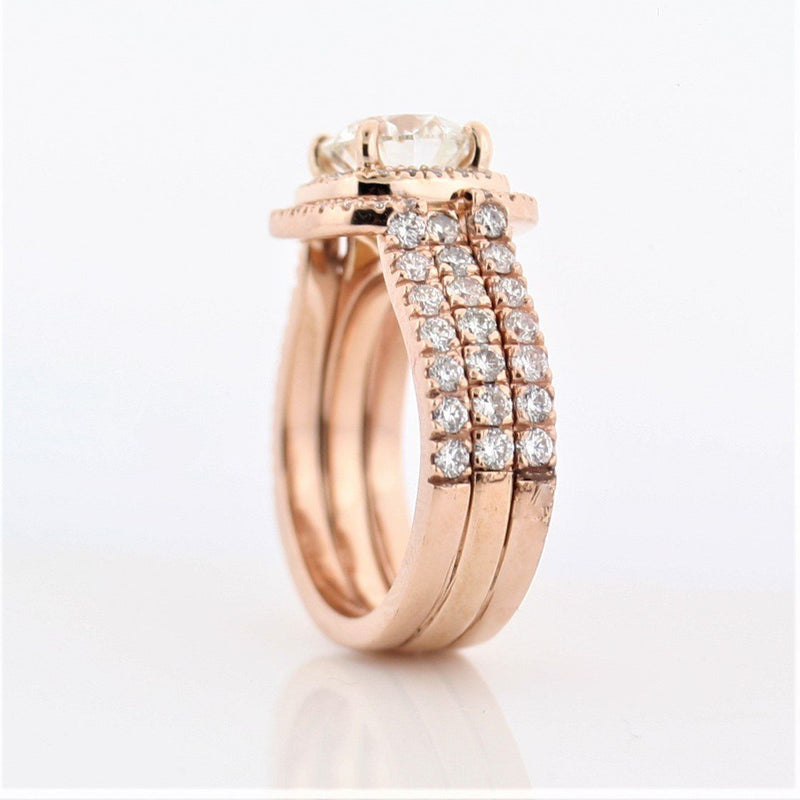 Round Diamond Cushion Halo Ring Double Band Set Pink Gold - Thenetjeweler