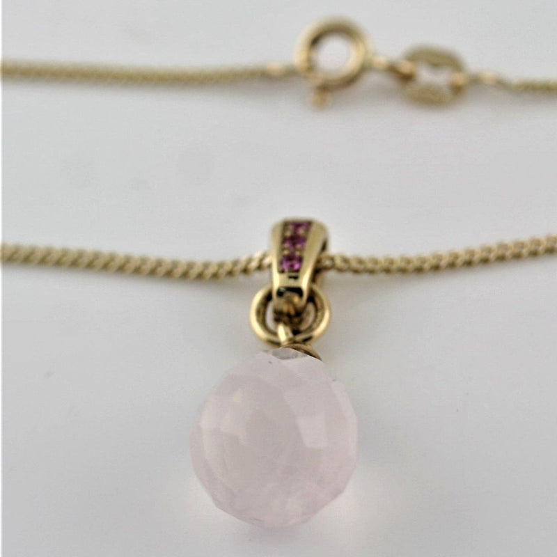 Pink Quartz and Pink Sapphire Pendant Necklace 14K Yellow Gold - Thenetjeweler
