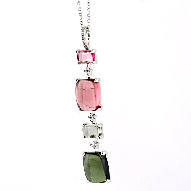 Tourmaline and Diamond Drop Pendant Necklace 18 White Gold - Thenetjeweler