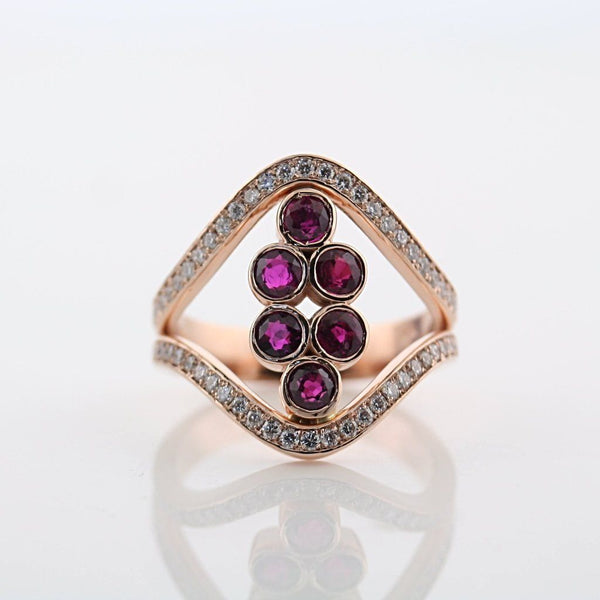 Ruby and Diamond Ring Rose Gold - Thenetjeweler