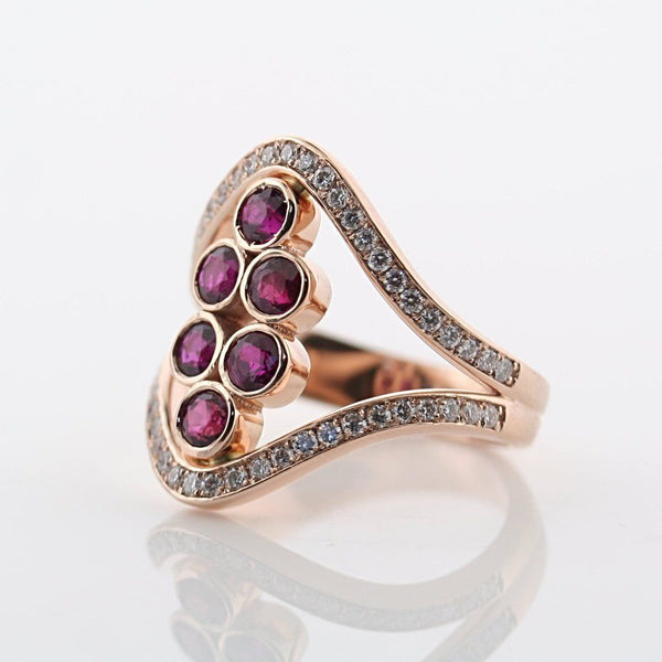 ruby and diamond ring rose gold