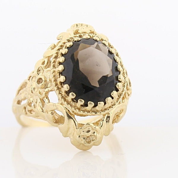 Smoky Topaz Ring 14K Yellow Gold Vintage Inspired - Thenetjeweler