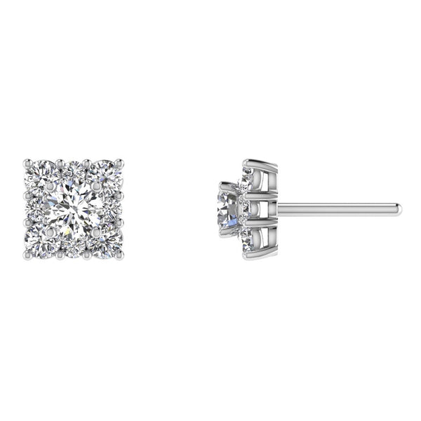 Diamond Square Stud Earrings 14K Gold - Thenetjeweler