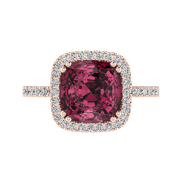 Cushion-cut Gemstone and Diamond Ring