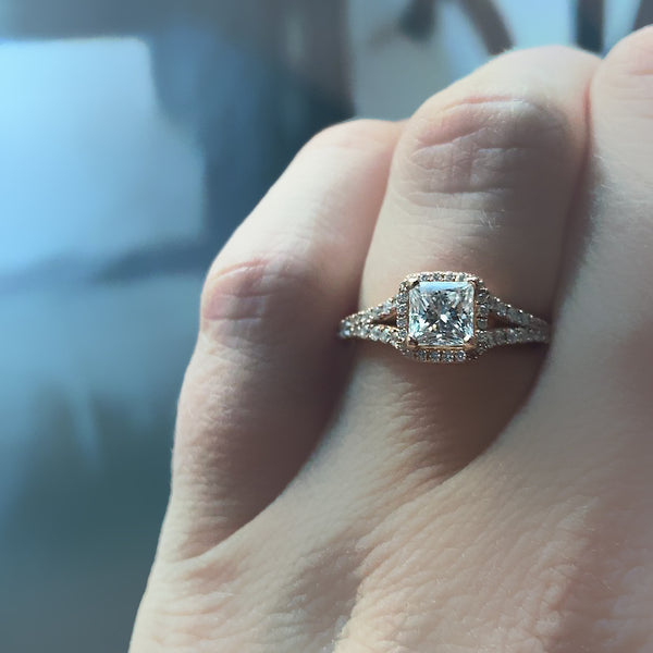 Princess Cut Diamond Halo Engagement Ring - Thenetjeweler
