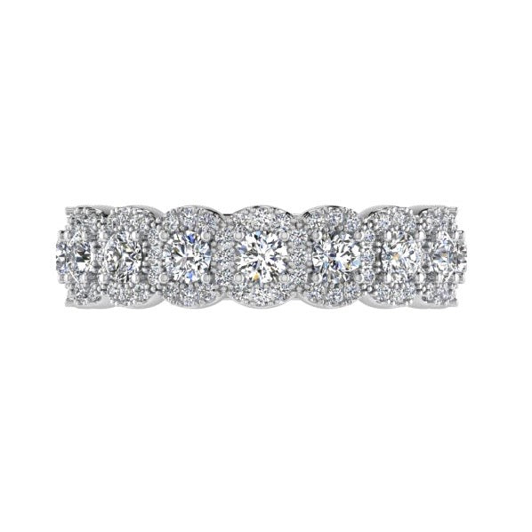 Halo Diamond Semi Eternity Ring 18K Gold - Thenetjeweler