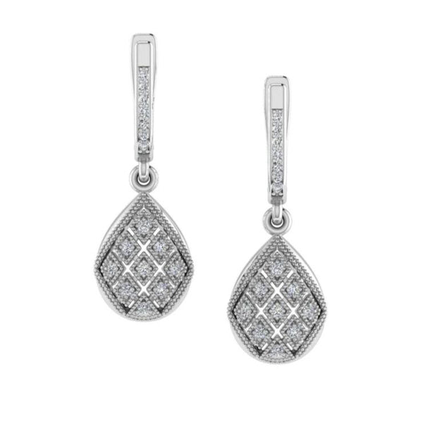Diamond Drop Earrings White Gold 0.22 ctw - Thenetjeweler