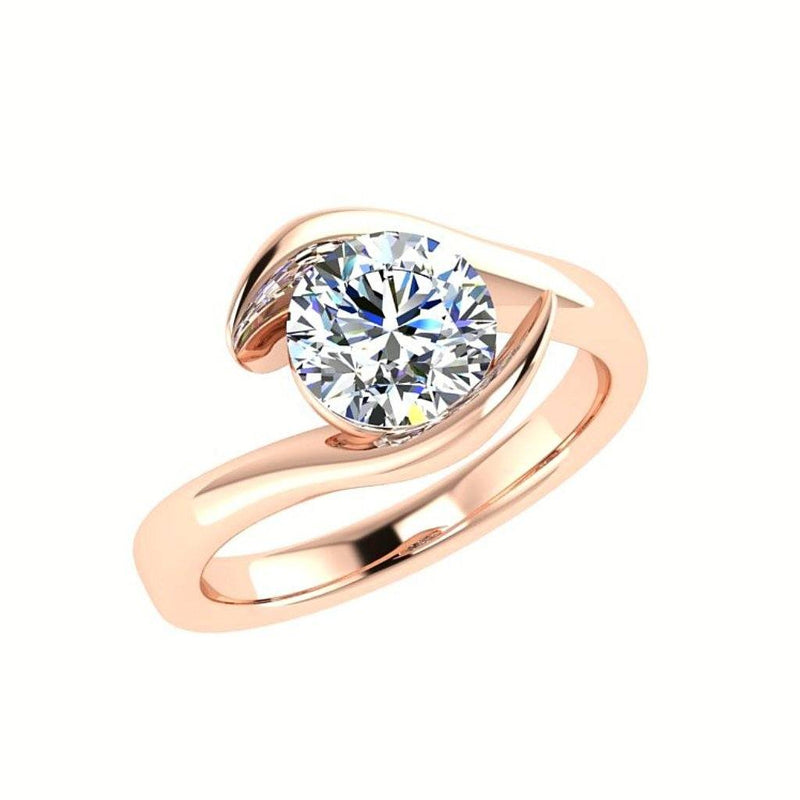 Round Diamond Solitaire Engagement Ring and Wedding Band Set - Thenetjeweler