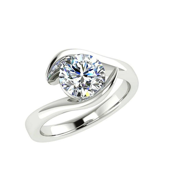 Twist Solitaire Diamond Engagement Ring 18K Gold - Thenetjeweler