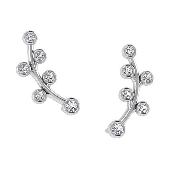 Climber Diamond Earrings 14K White Gold - Thenetjeweler