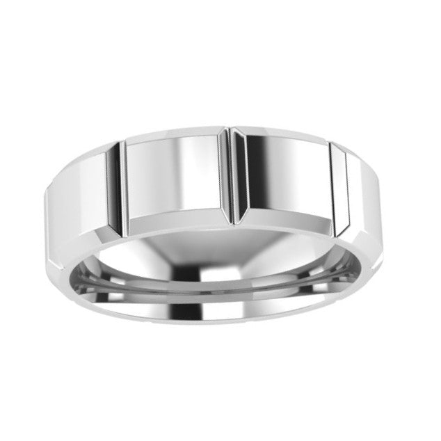 Patterned Men's Wedding Band White Gold 7.0mm - Thenetjeweler