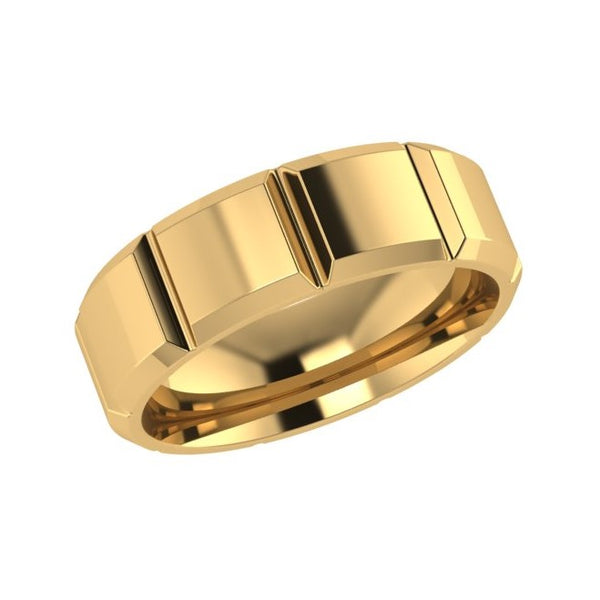 Patterned Men's Wedding Band Yellow Gold 7.0mm - Thenetjeweler