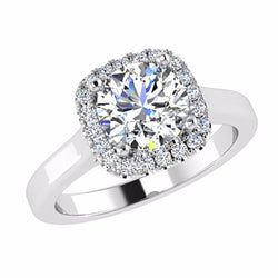 Round Diamond Cushion Halo Engagement Ring 18K Gold - Thenetjeweler