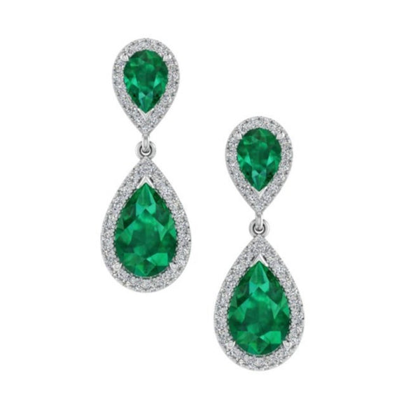Pear Shaped Emerald Drop Earrings - Thenetjeweler