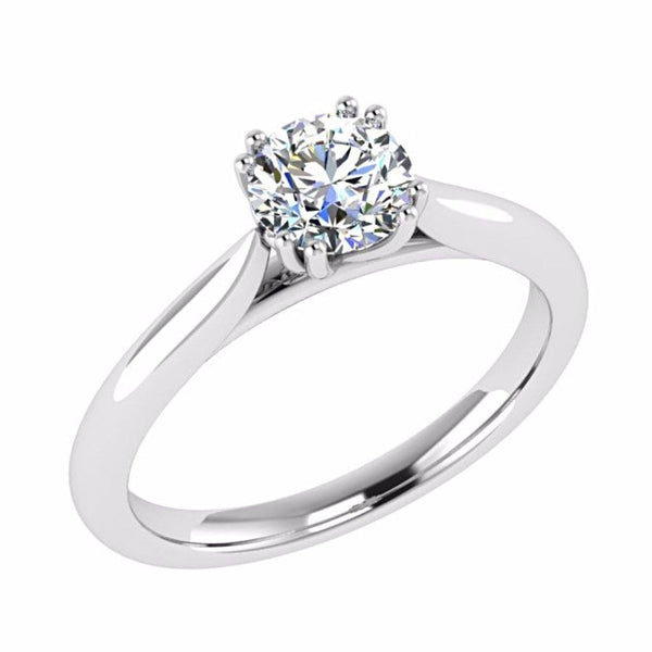 Round Solitaire Diamond Engagement Ring 18K Gold - Thenetjeweler