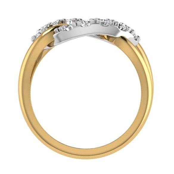 Two Tone Looped Design Ring 14K Gold - Thenetjeweler