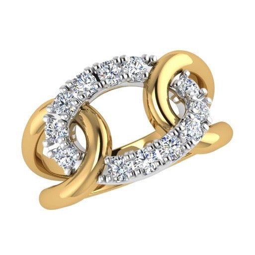 Two Tone Looped Design Ring 14K Gold
