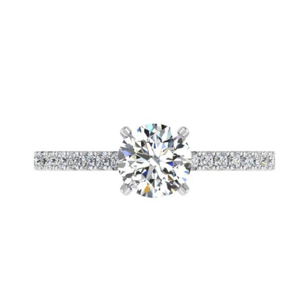 Round Diamond Side Stone Engagement Ring 18K Gold (0.33 ct. tw) - Thenetjeweler