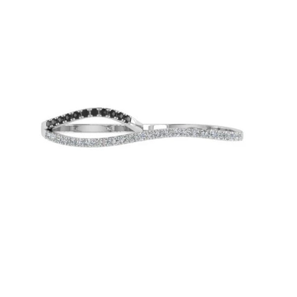 White and Black Diamond Two Finger Ring
