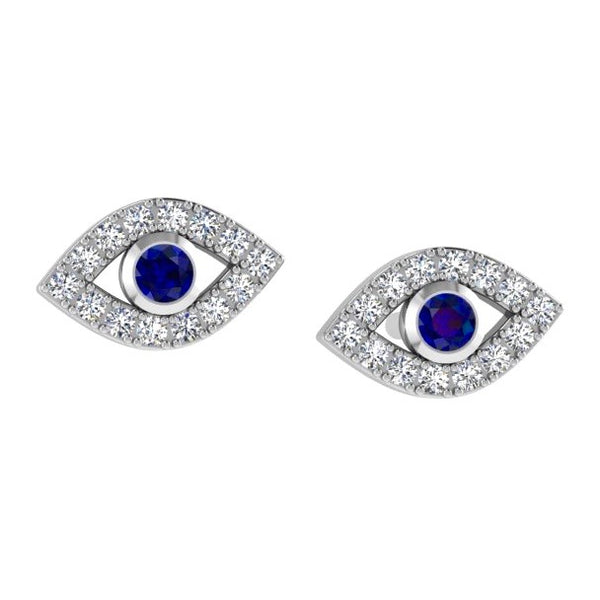 Evil Eye Diamond Stud Earrings with Sapphire Stone 14K Gold - Thenetjeweler