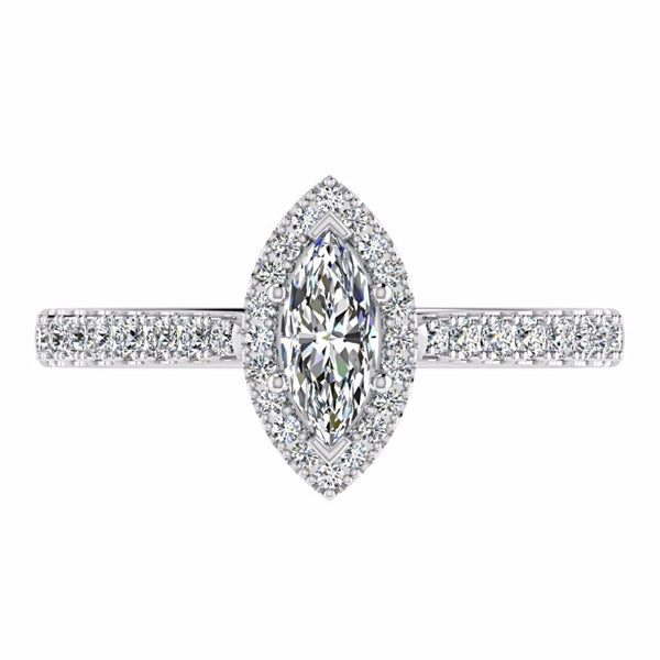 Marquise Diamond Halo Side Stone Engagement Ring 18K Gold Setting - Thenetjeweler