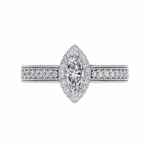 Marquise Diamond Halo Side Stone Engagement Ring 18K White Gold Setting - Thenetjeweler