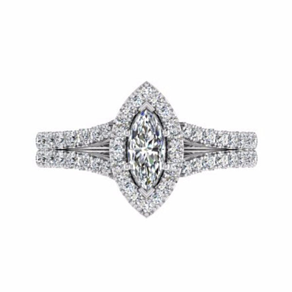 Marquise Halo Diamond Split Shank Engagement Ring 18K Gold - Thenetjeweler
