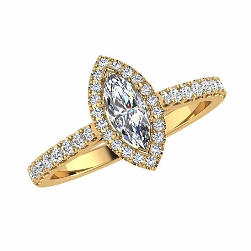 Marquise Diamond Halo Side Stone Engagement Ring 18K Gold Setting - Thenetjeweler by Importex