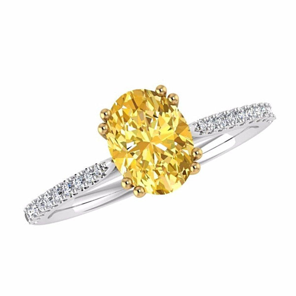 Oval Yellow Diamond Side Stone Ring 18K White Gold Setting - Thenetjeweler