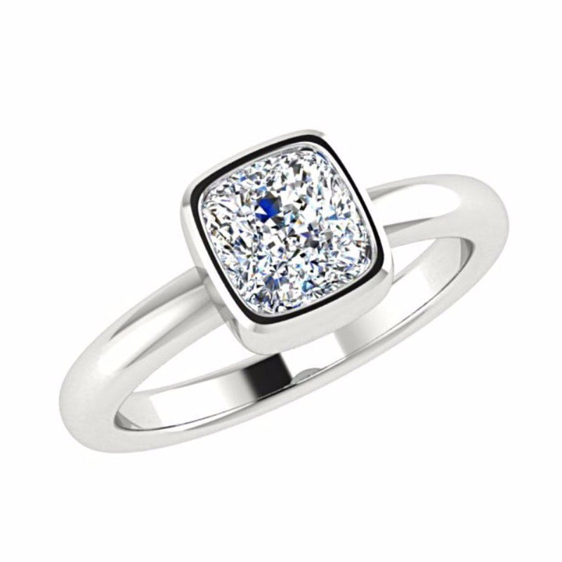 Cushion Shape Solitaire Diamond Engagement Ring Setting 18K Gold - Thenetjeweler