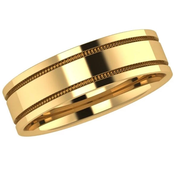 Milgrain Men's Wedding Band - Thenetjeweler