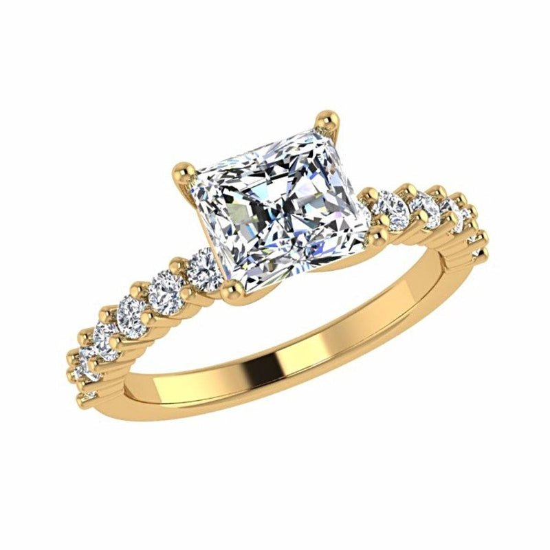 Princess Diamond Engagement Ring with Side Stones 18K Gold - Thenetjeweler