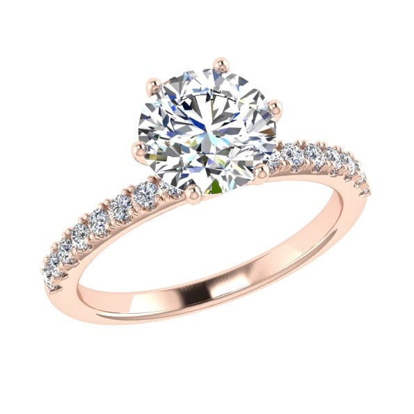 Round Diamond Side Stone Engagement and Eternity Ring Set 18K Gold - Thenetjeweler