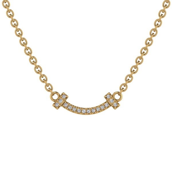 Smile Bar Diamond Necklace 14K Gold