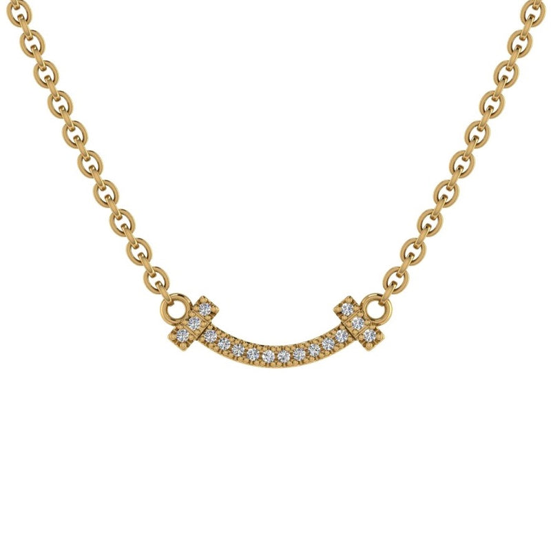 Smile Bar Diamond Necklace 14K Gold - Thenetjeweler