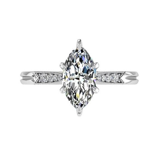 Marquise Diamond Engagement Ring 18K White Gold Setting 8 Side Stones - Thenetjeweler