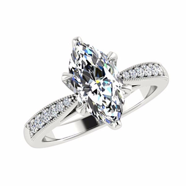 Marquise Diamond Engagement Ring 18K White Gold Setting 12 Side Stones - Thenetjeweler