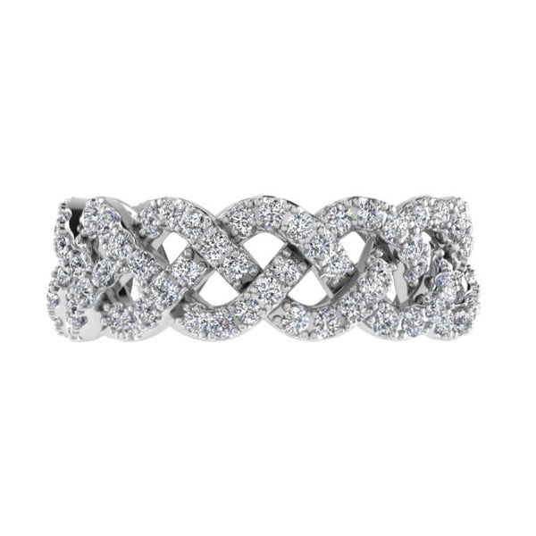 Pave Diamond Twist Eternity Ring Band 18K Gold