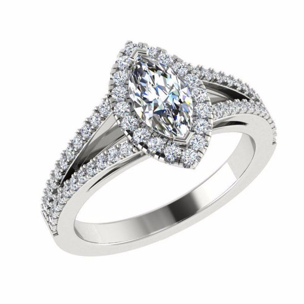 Marquise Diamond Split Shank Engagement Ring with Side Stones 18K Gold - Thenetjeweler