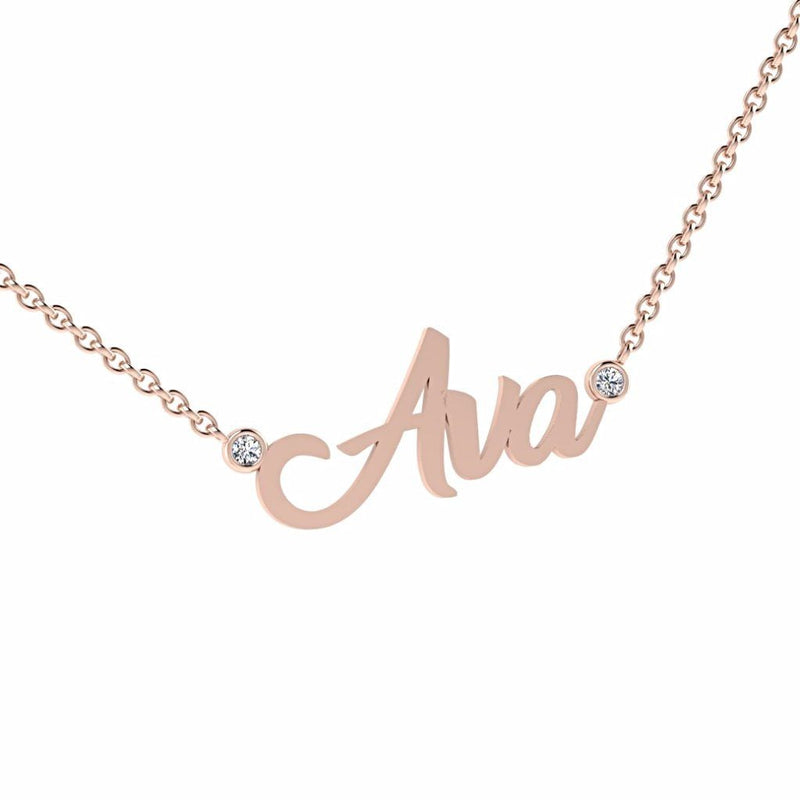 Personalized Name Necklace with Diamonds Ava 14K Gold - Thenetjeweler