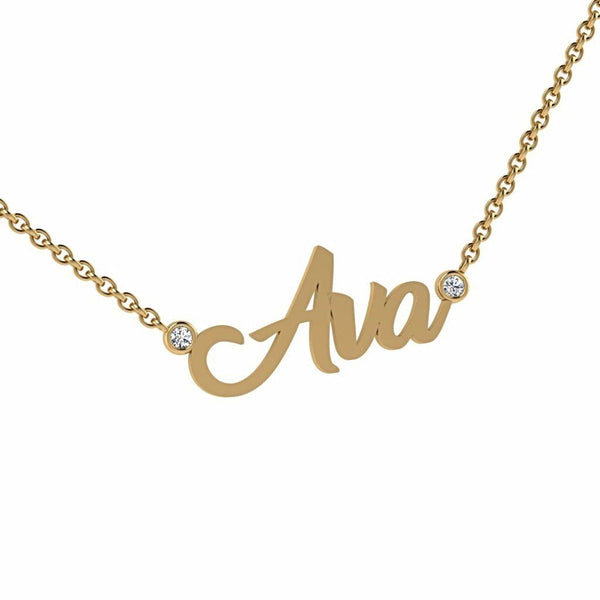 Personalized Name Necklace with Diamonds Ava 14K Gold - Thenetjeweler by Importex
