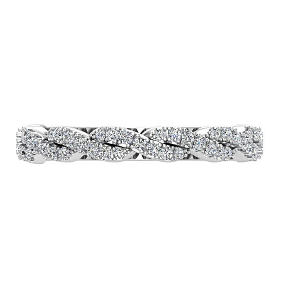 Twist Diamond Semi Eternity Wedding Band 14k 18K Gold  (0.26CT) - Thenetjeweler