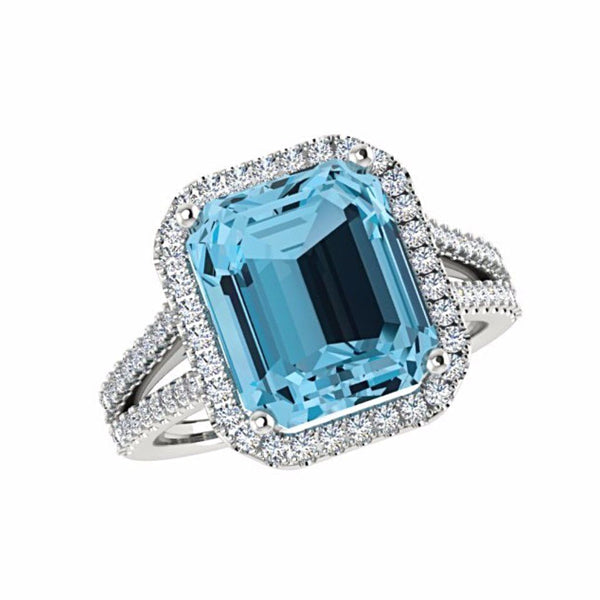 Blue Topaz Diamond Halo Ring 14K Gold - Thenetjeweler