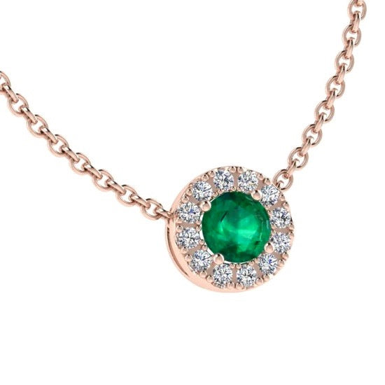 Emerald Halo Diamond Necklace 14K Gold - Thenetjeweler